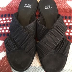 Eilleen Fisher Black Leather/Suede slip ons